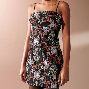 UO Floral Embroidered Ponte Straight-Neck Dress
